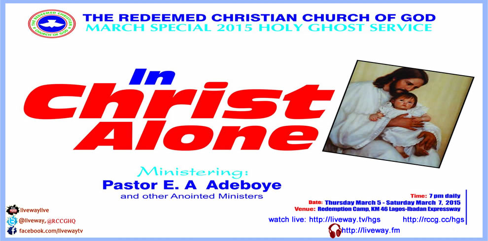 Join us for the 2015 Holy Ghost Servic: In Christ Alone